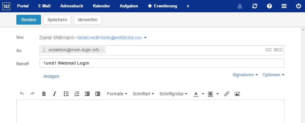 1und1 Webmail - E-Mail schreiben