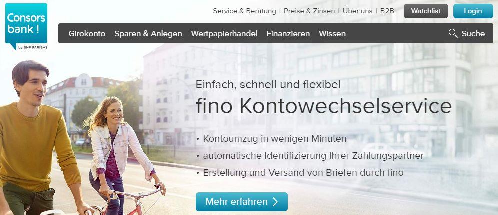Screenshot: Consorsbank-Startseite (Ausschnitt)