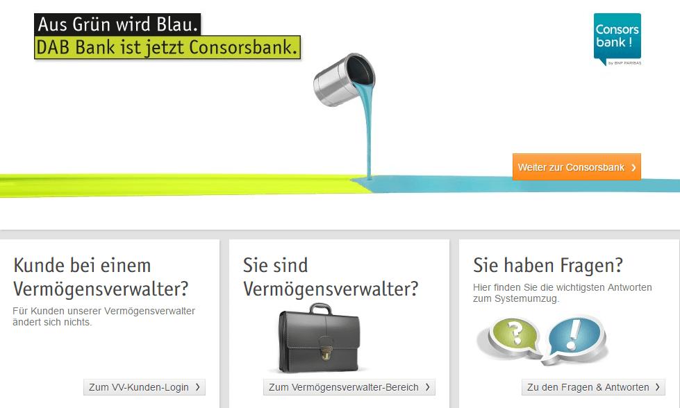 DAB Bank Webseite mit Hinweis zum Consorsbank-Portal