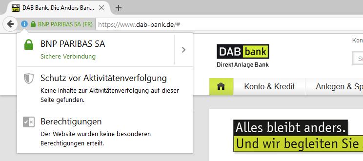 DAB-Bank - SSL-Verschlüsselung