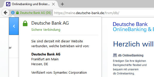 SSL-Verschlüsselung der Deutschebank-Webseite per Extended-Validation-Zertifikat