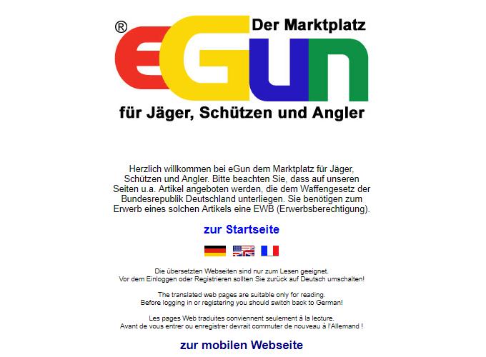 eGun Marktplatz Startseite
