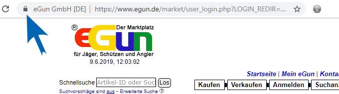 eGun Webseite SSL-verschlüsseltes Login