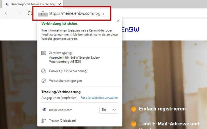 Meine EnBW Login - SSL-Verschlüsselung per HTTPS im Browser