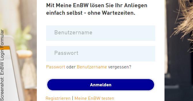 EnBW Login Formular