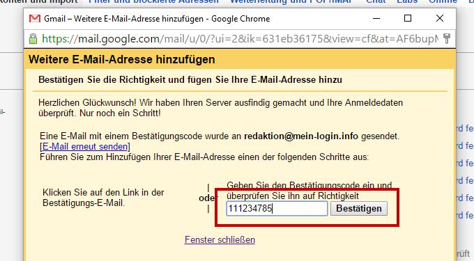 Gmail - E-Mail Bestätigung