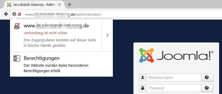 Browser-Warnung: Joomla Login unsicher
