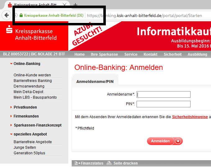 Screenshot: KSK Anhalt-Bitterfeld Login (HTTPS)