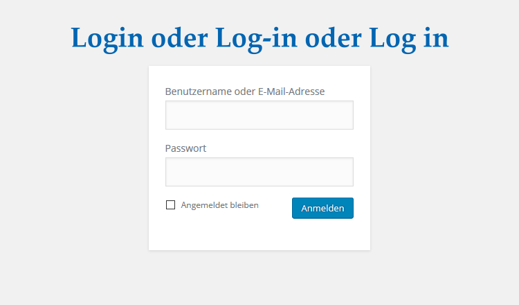 Login oder Log-in oder Log in
