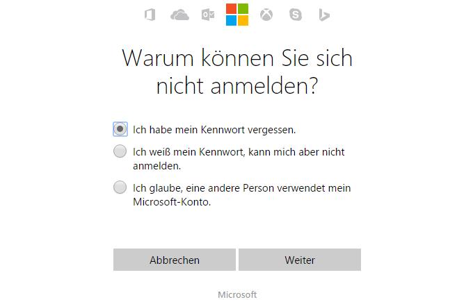 Microsoft Kennwort vergessen