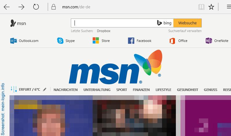 MSN Startseite (deutsch)