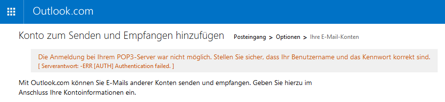 Oulook.com Fehlermeldung: Authentication failed