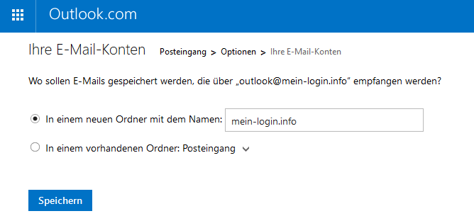 Outlook.com - Speicherort festlegen