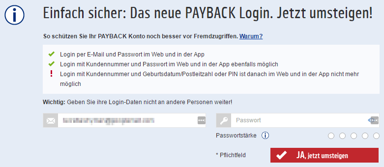 Payback-Login umstellen