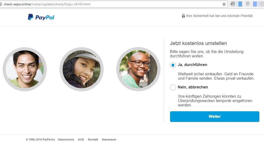 Nachgebaute Paypal-Seite unter check-sepa . online