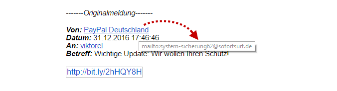 Vermeinliche E-Mail von Paypal Deutschland