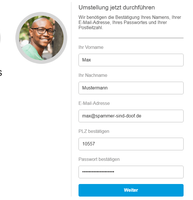 Schritt 1 bei diesem Paypal Phishing Versuch