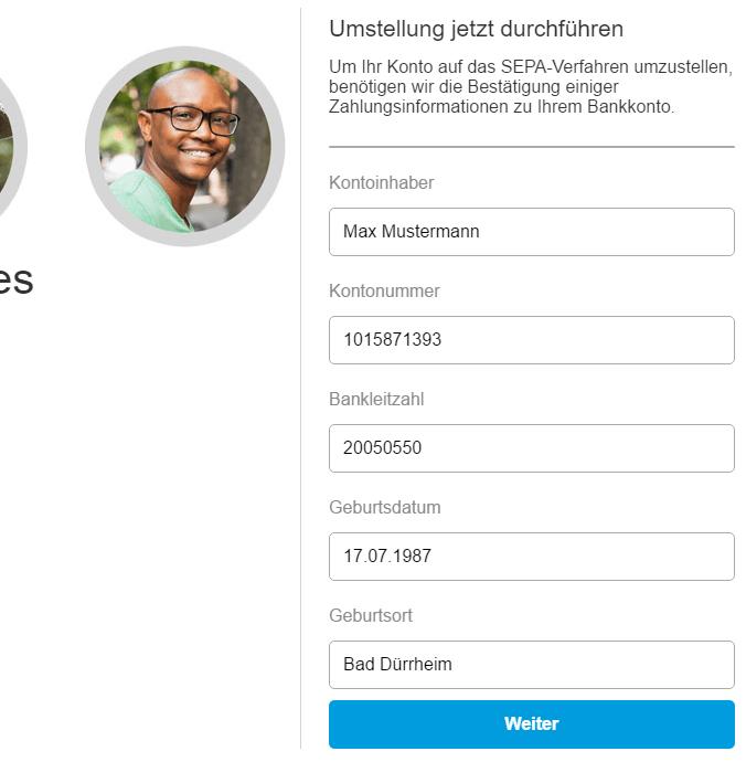 Paypal Phishing - Abfrage der Kontoverbindung