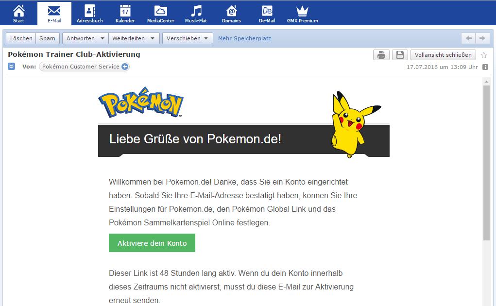 Pokemon Go Trainer Club Aktivierungs-Mail