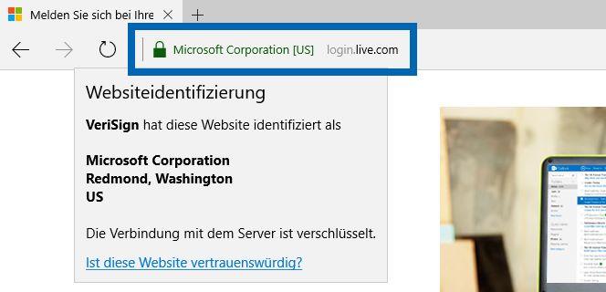 SSL-Verschlüsselung (hhtps) bei login.live.com im Edge Browser