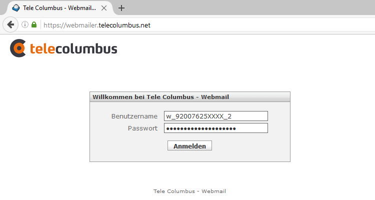 Screenshot: Telecolumbus Webmail Login