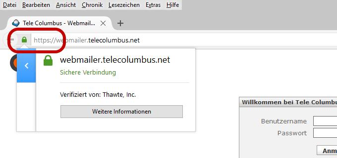Telecolumbus Webmail SSL-verschlüsselt (https)