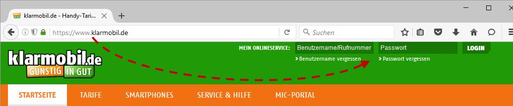 Klarmobil.de - Login SSL-verschlüsselt